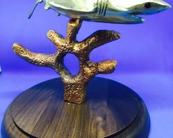 Great White Shark Brass Sculpture