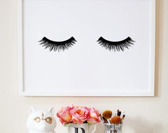 Eyelashes poster. Printable lashes. Fashion artwork. Instant download.  Lashes print. Makeup print. Beauty poster. Girls decoration.
