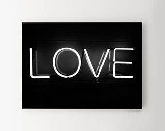 Love printable poster. Love neon sign. Love artwork. Love wallart. Typography artwork. Instant download