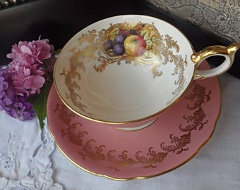 Aynsley Orchard Fruit Teacup,  Aynsley Pink Teacup and Saucer, Gold Floral Pattern, Gold Trim, Wide Mouth Teacup