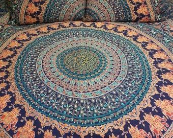 Mandala tapestry, Queen size, mandala bedding,  Boho bedding, Boho Decor, hippie bedding, wall tapestry, Boho dorm room, Mandala curtains