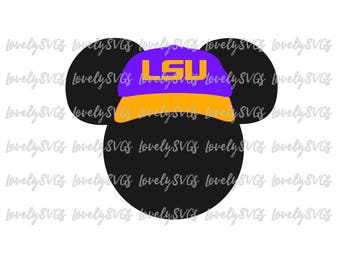 Instant Download SVG Studio3 - Mickey LSU Hat - PDF Jpeg - Instant Download - Silhouette Cricut Design Monogram File