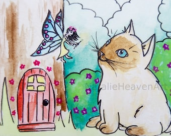Siamese Cat Art, Whimsical Animal Picture, Cute Kitten Painting, ACEO Original Cat and Fairy Painting, Cat Lover Gift Ragdoll Cat Art Whimsy