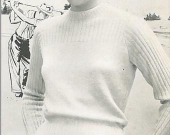 Vintage Women's Ribbed Sweater Knitting Pattern PDF 1954