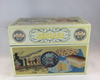 Pillsbury Recipe Box - Metal Recipe Box - 1980s Recipe Box - 1980s Kitchen Decor - Vintage Recipe Box - Kitchen Decor - Pillsbury Heritage