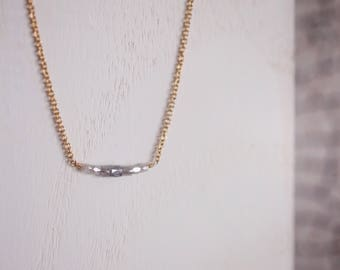 Dainty Faceted Raw Diamond Necklace | 14K Gold Filled | Bohemian Gradient Natural Diamond Bar Necklace