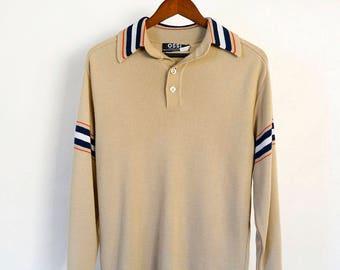 70s tan collared knit acrylic/wool sweater, size M/L