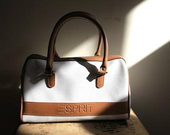 Vintage ESPRIT Doctor Bag Handbag Purse Brown on White Vegan Excellent Condition