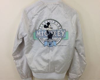 Rare Vintage 80's Mickey Mouse Disney Chalk Line Gray Satin Jacket - Size Small