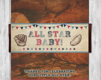 Vintage Sports Baby Shower Candy Wrapper - Baby Shower Party Favor - Couples Baby Shower - All Star Baby - Baseball Baby Shower Favors