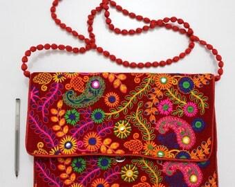 Handmade Ethnic Designer Tribal Banjara Patchwork Embroidered Hippy Fashionable Stylish Trendy Hippie Gypsy Boho Bohemian Clutch Bag F289