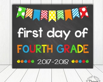 First Day of Fourth Grade Chalkboard Poster Photo Prop 11x14 Printable Instant Download Digital File