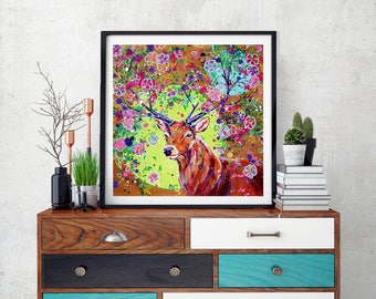 Floral Stag art, Stag art print, Floral stag, Fantasy Stag, Stag wall art, Stag decor, Woodland stag