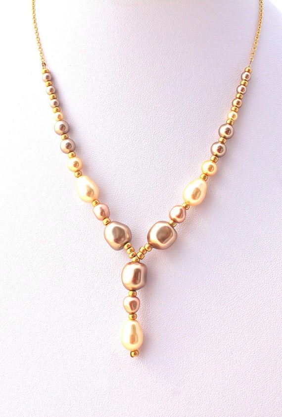 vintage necklace, wedding necklace with baroque swarovski pearls creamrose, bronze and gold.