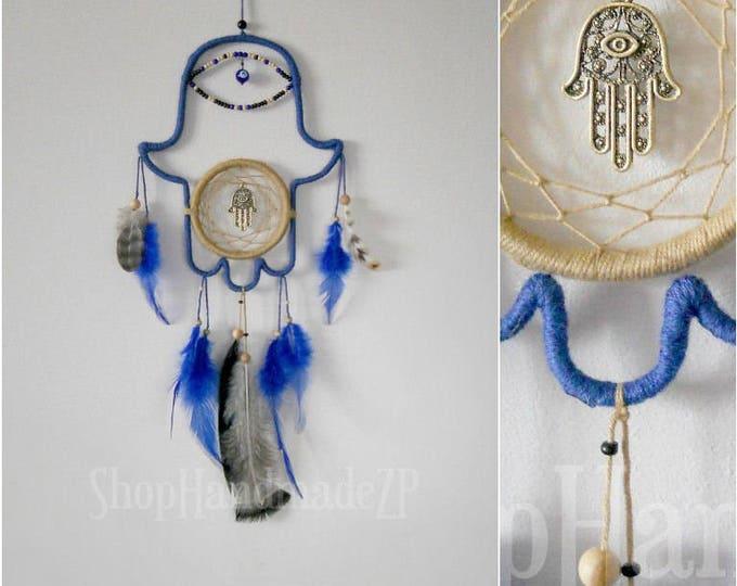 Dream catcher Hamsa Dreamcatcher hand of God dream catcher hamsa necklace hand of hamsa dreamcatcher jewelry hamsa decor