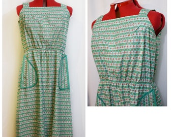 Green Striped 70s Sundress with Pockets