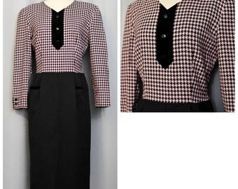 Valentino Miss V Pink Houndstooth Lambswool Dress