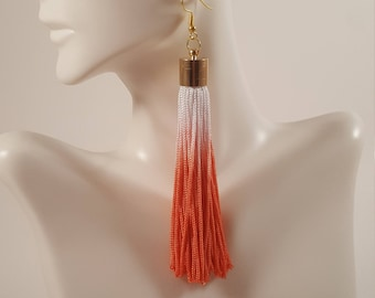 Orange coral tassel earrings, clothing gift, fringe earrings, coral earrings, gift for girlfriend, gift for mom, tassel jewelry