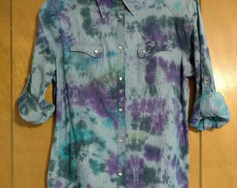 "Hand Dyed Tie Dyed ""workwear"" shirt"