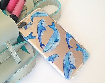 iPhone 7 Case Whale iPhone 7 Plus Case Ocean iPhone 8 Case iPhone X Case Protective Birthday Gift, Christmas Gift, Anniversary Gift //396