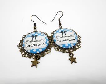 """Humor - sweet words """"Miss Sulky"""" earrings"""