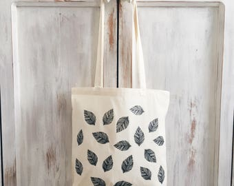 Tote bag, leaf, botanical, botanic, green, nature, eco friendly, market bag, grocery bag, canvas bag, reuseable bag