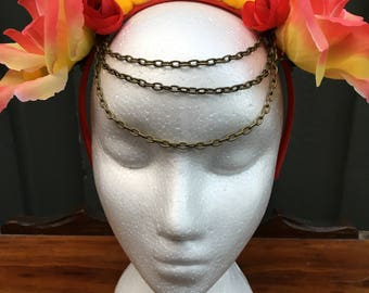 Red and Yellow Flower Crown