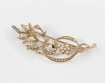 Antique Seed Pearl Brooch, 9ct Gold Brooch, Horseshoe Brooch, Floral Spray Brooch, Gold and Pearl Brooch, Victorian Brooch, Edwardian Brooch