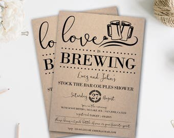 Stock the Bar Invitation | Couples Shower Invitation | Love is Brewing | Couples Shower Invite | Rustic | Stock the Bar Couples Shower