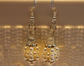 Cute Pearl-beaded handmade earrings; beadweaving, beautiful, white, silver, casual wear, party wear