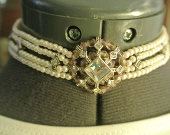 A Darling Choker with Pearls, Faux Diamonds