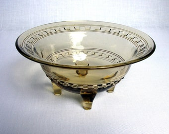 Art Deco / Amber Glass Bowl / Footed Bowl / Depression Glass Bowl / Candy Dish / Fruit / Serving Bowl / Collectible Glass / Greek Key Design