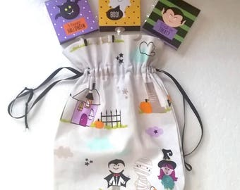 Halloween bag Dracula, Mummy, witch, trick or treat bag, cotton trick or treat