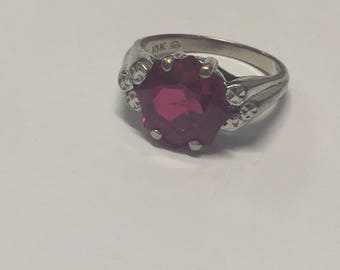 Vintage Edwardian 10K White Gold 10mm Ruby Ring