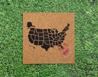 Cork Push Pin Travel Map of the USA! with 50 Pins - Black / Travel Corkboard / United States Pushpin Map / Pinnable US Traveler Gift