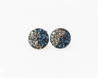 Sterling Silver Pave Radience Stud Earrings, Swarovsky Crystals, Half and Half, Blackdia and Navy, Unique and Chic Style Stud Earrings.