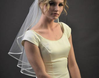 "22"" Past Shoulder Length Wedding Veil with Folded 1/4"" Satin Ribbon Edge"