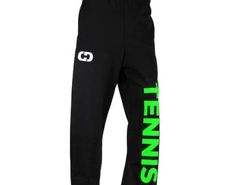 Tennis Logo Sweatpants, Black - 6 Logo Colors, Free Shipping! Great Tennis Gift!