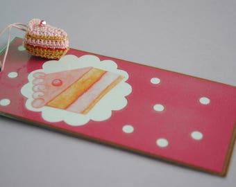 bookmark with crochet strawberry cake charm