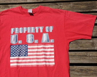 "Vintage 90's ""Property of U.S.A."" Ultra Patriotic Red, White & Blue T-shirt American Flag Fruit of the Loom XL"