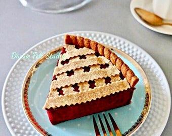 Felt Cherry Pie-Felt Food Pretend Play Tea Party
