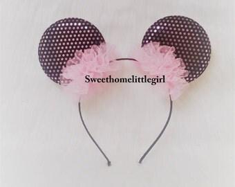Disney headband,mini mouse headband,mini mouse,pink tulle,plastic headband,elastic headband