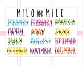 Monthly Handwritten stickers | Planner Stickers