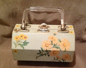 1950s Wooden Box bag with Lucite Handles / 50s Decoupage Wooden Bag / Purse