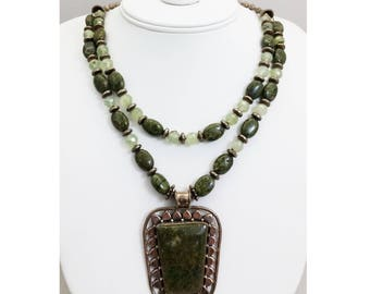 Handmade Serpentine Stone & Sterling Silver Pendant Necklace w/ Serpentine, Prehnite and Sterling Silver Beads and Clasp