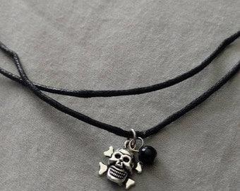 Skull and Cross Bones Choker Necklace