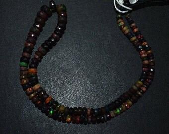 "1 Strand Black Ethiopian Opal Faceted Rondelle Beads - Black Ethiopian Opal Beads, Black Opal , 3.50 - 8 mm, 16"" - EO273"