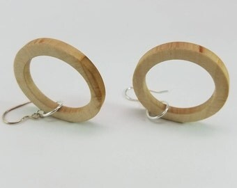 Apple Wood Hoops Dangle Earrings