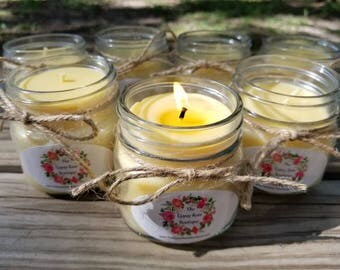 Natural Beeswax Candle, 8 oz Beeswax Candle, Pure Beeswax Candle, Natural Candle, Unscented Candle, Mason Jar Candle, Beeswax Candle, Candle