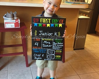 My first day of school reusable chalkboard, physical magnetic board, back to school, photo prop, erase reusable photo board